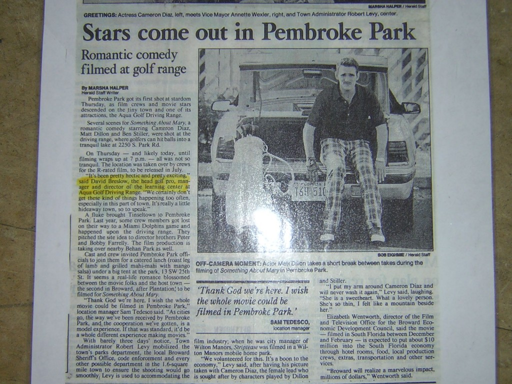 Something About Mary Range Newspaper Article