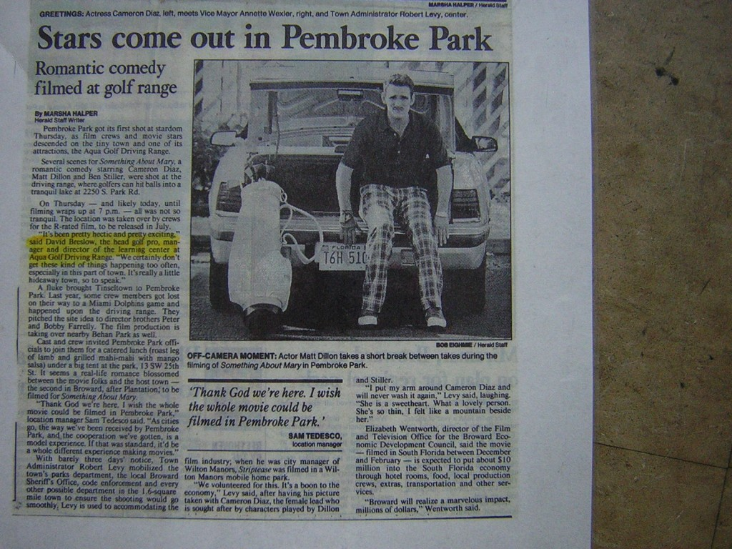 Something About Mary Newspaper Pembroke Park